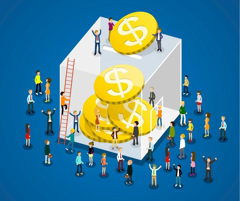 equity crowdfunding: disegno di u insieme di persone che versano soldi in un grade contenitore